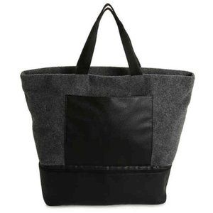 DSW Gray Felt Wool Tote Bag w/Shoe Compartment NWT